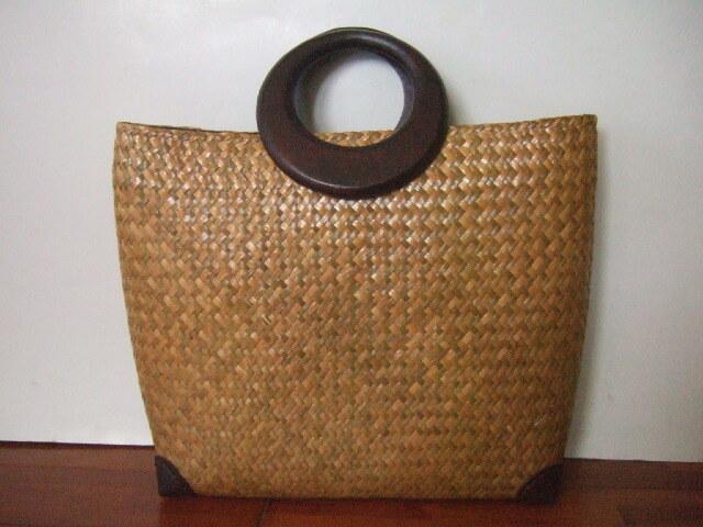 【タイ製】カチューで編まれたハンドバッグ 幅41cm 角補強 ファスナー付き 持ち手マンゴーの木【送料別設定】