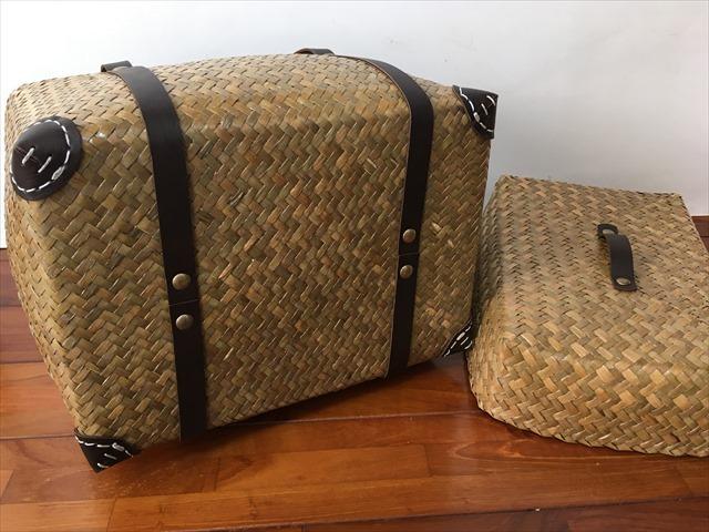 【タイ製】 カチューという水草のかごバッグ 直方体でフタ付 紐は合皮 小サイズ 21x18x18 マーブル