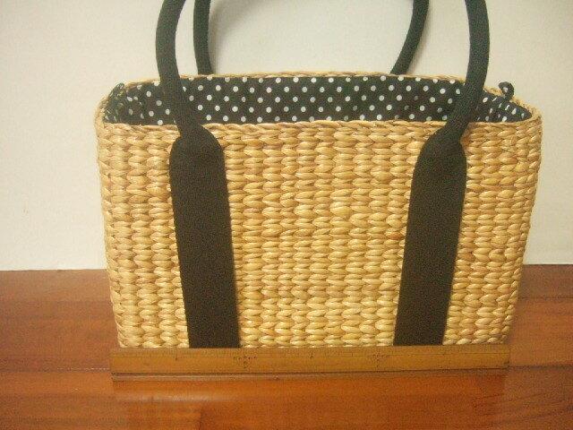【タイ製】ウォーターヒヤシンス 直方体 幅32cm巾着布付き(こげ茶) 持ち手はこげ茶の合皮