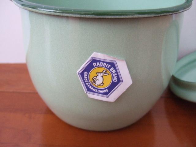 【タイ製】ホーローストッカー・ポット(バケツ)フタ付 お鍋としてもOK ミントグリーン