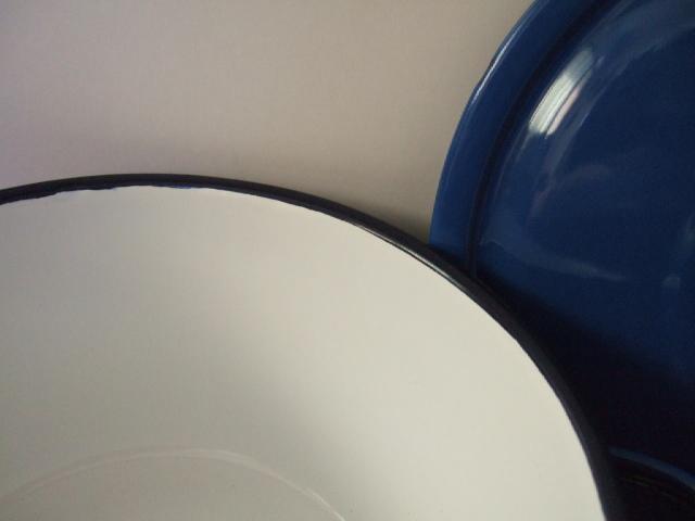 【タイ製】ホーロー両手鍋ふた付22cmPENGUIN 青