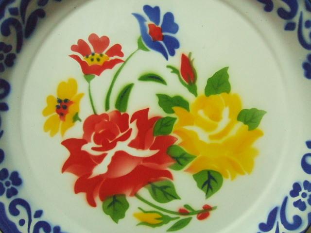 【タイ製】ホーローのお皿(プレート)周囲は青色 赤と黄色の花柄 直径30.5cm