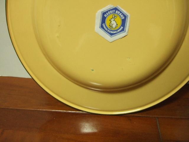 【タイ製】ホーロー皿 22cm径 イエロー 無地シンプル