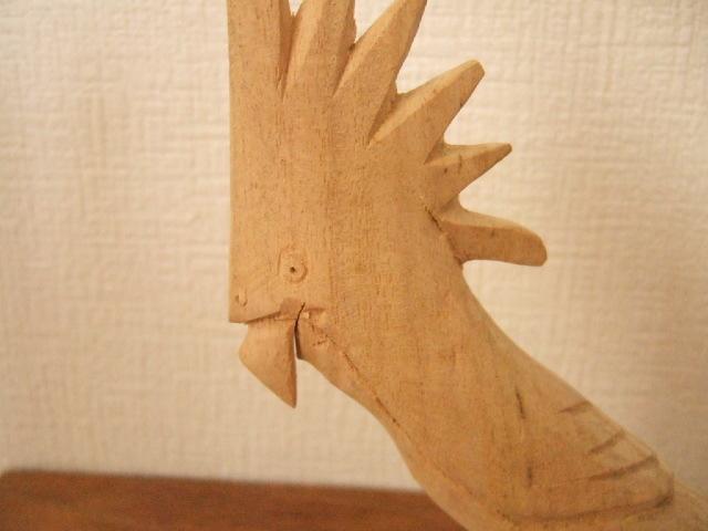【タイ製】木で作られた 鳥さんカードホルダー オウム トサカが派手【レターパック可】