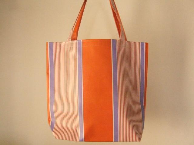 台湾製 台東でテント生地素材で作られたバッグ 中サイズ オレンジ&紫 縦ストライプ トートバッグ【レターパック可】