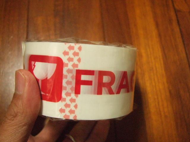 【タイ製】割れ物注意テープ 薄手の荷造り用テープ