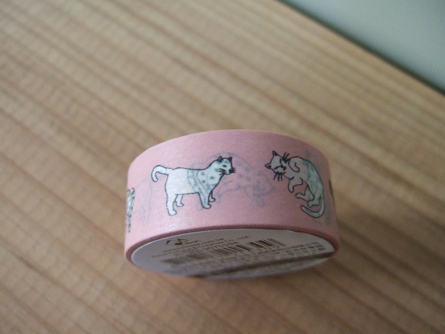 台湾製マスキングテープ 猫のピンク柄【レターパック可】ラッピングに最適