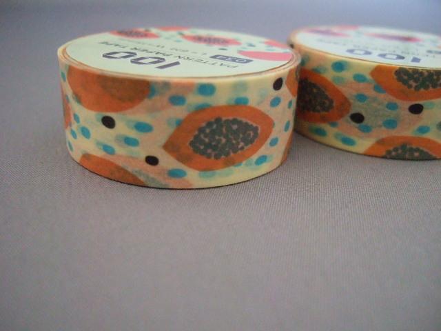 台湾製マスキングテープ【パパイヤ柄】ラッピングに最適【レターパック可】