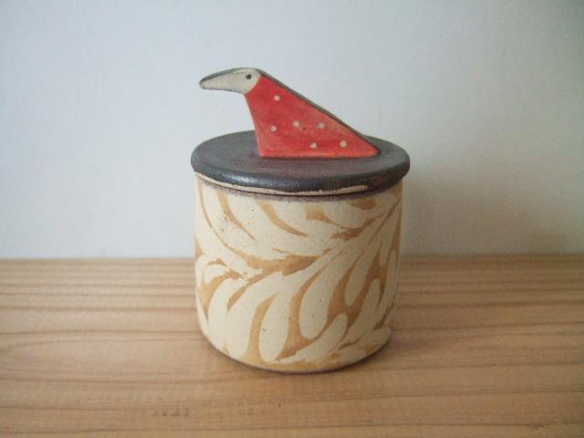 沖縄産 ツチノヒ やちむん 鳥さん香合 青柄
