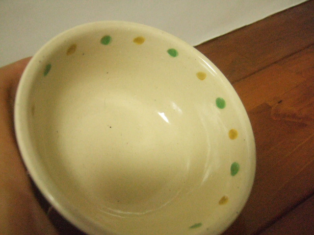 沖縄産 工房sen やちむん あられマカイ 小 茶 緑 赤 黄の点 10.5cm径
