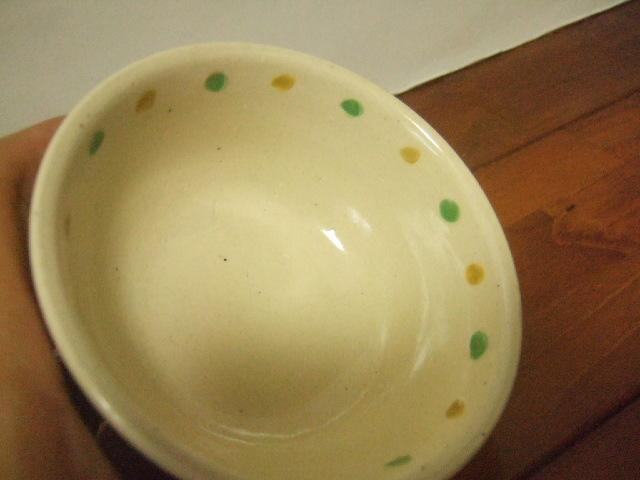 沖縄産 工房sen やちむん あられマカイ 小 茶 緑 黄の点 お日様 10.5cm径 175g