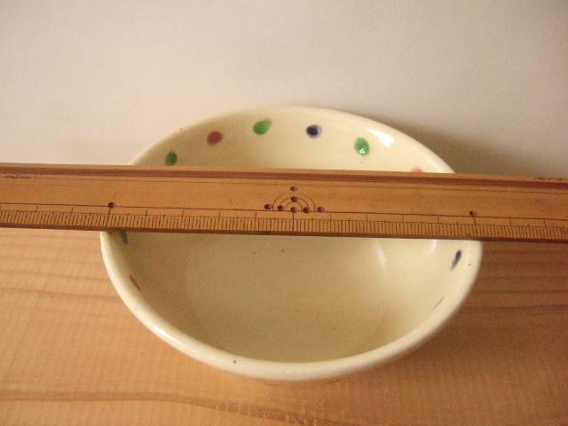 沖縄産 工房sen やちむん あられマカイ 小 青 赤 緑 黄の点 10.8cm径