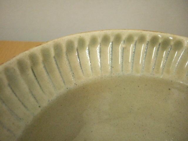 沖縄産 ツチノヒ やちむん 5寸平鉢 しのぎ白