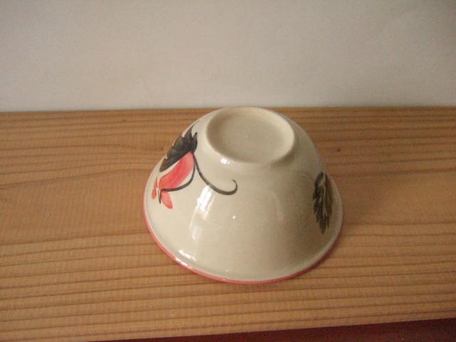 【タイ製】12cmマカイ 鳥さん柄 赤花柄付き 上部赤縁取り ランパーン製