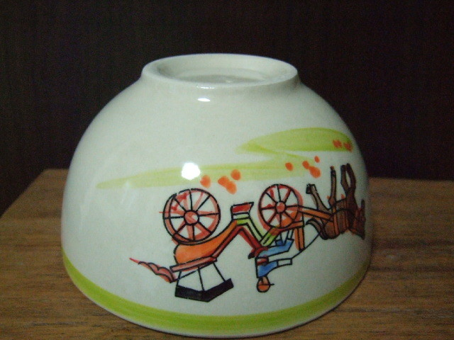 【タイ製】花馬車柄のフリーボウル13.5cm径 緑 ランパーンの陶器
