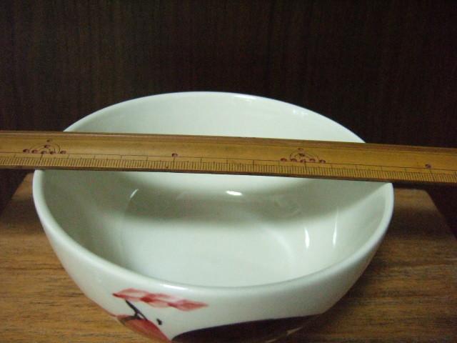 【タイ製】にわとり柄のフリーボウル 14cm径 花柄付き ランパーン陶器