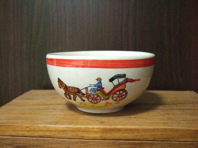 【タイ製】花馬車柄のフリーボウル 小 11.5cm径 赤 ランパーン陶器