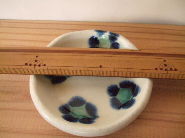 沖縄産 工房sen やちむん 丸皿 3寸 呉須花柄