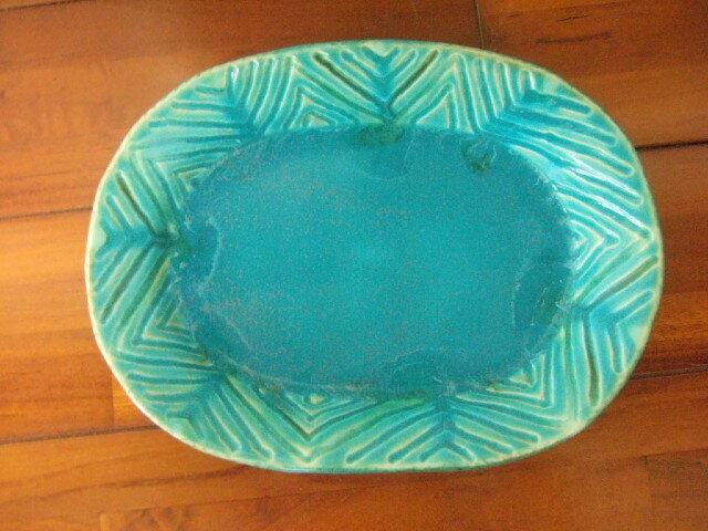 沖縄産 工房sen やちむん リムプレート トルコ色 綺麗なお皿 23.5cm幅 510g