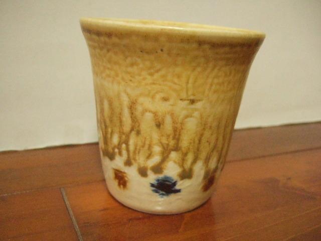 沖縄産 工房sen やちむん フリーカップ 飴色 ドット 9.5cm径 Mサイズ