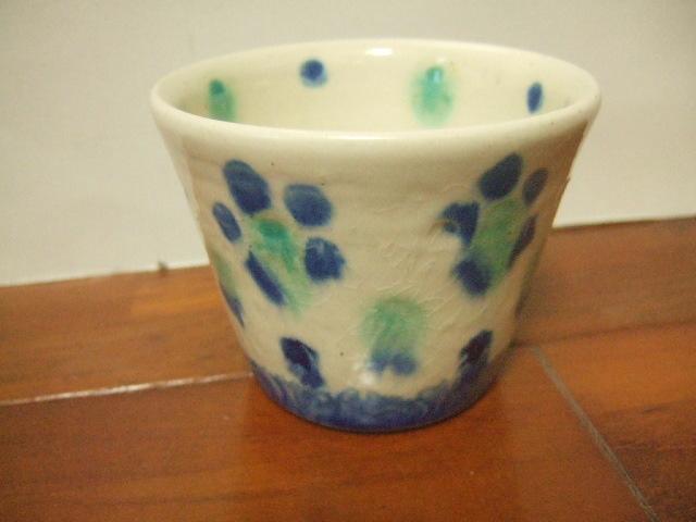 沖縄産 工房sen やちむん フリーカップ 呉須の花柄 9cm径 Sサイズ