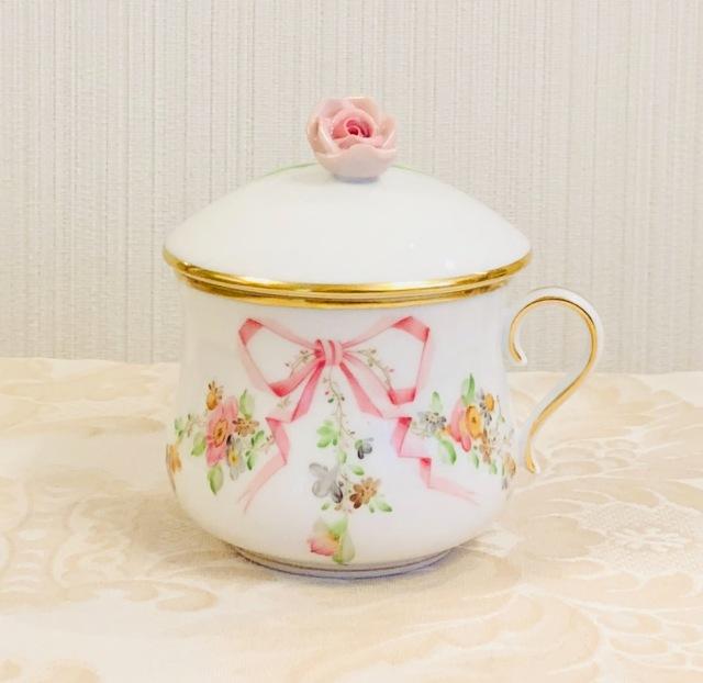 ヘレンド  EDEN  エデン桜ピンク クリームカップ 薔薇トップ シンプルハンドル