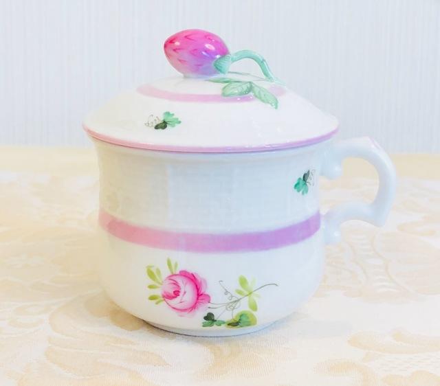 Herend VRH-X4 ウィーンの薔薇ピンク ラージクリームカップ 苺トップ 180ml
