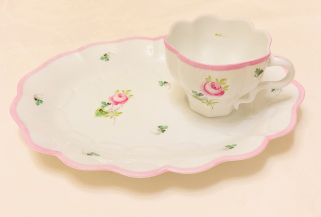 ☆レア☆ Herend ヘレンド VRH-X4 ウィーンの薔薇ピンク テニスセット(スナックセット)