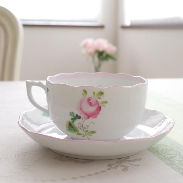 ☆御会員様専用☆左ハンドル☆ Herend ヘレンド ウィーンの薔薇ピンク 左ハンドル カップ&ソーサー *淡めのピンクです。