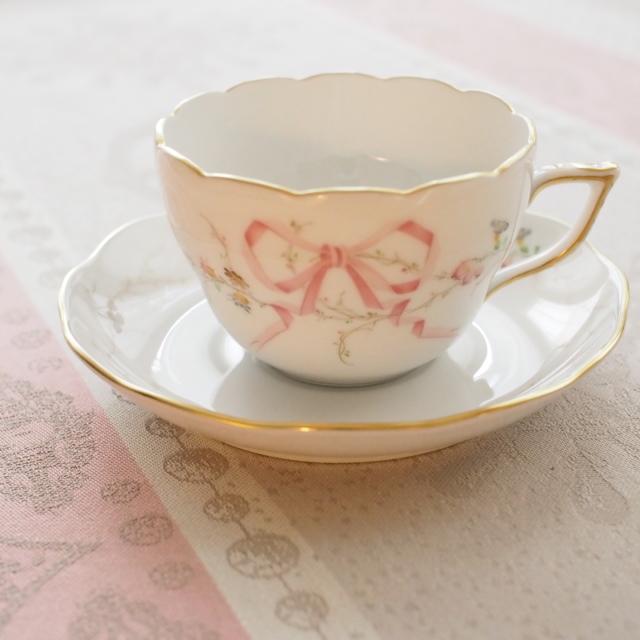 ☆特別ご案内価格☆既存ストックのみ☆Herend ヘレンド エデン桜ピンク シンプル 兼用カップ&ソーサー