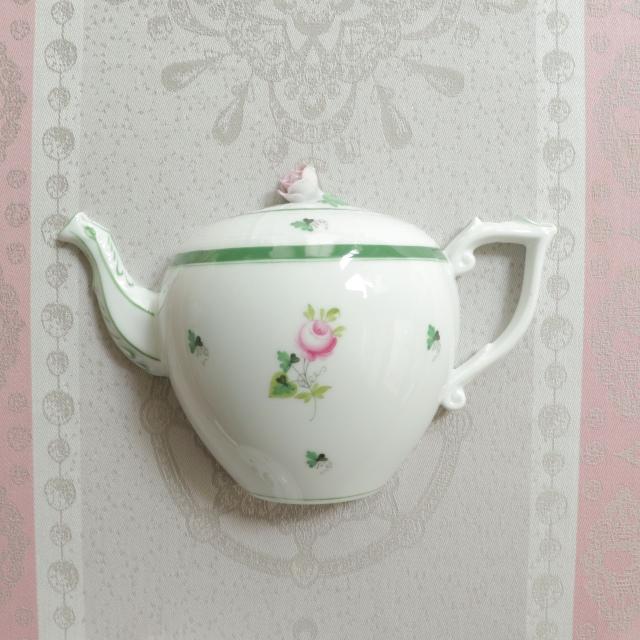 ☆レア☆ ヘレンド  ウィーンの薔薇 ティーポット型ウォールデコレーション (*グリーンのみのご案内です。ピンクは別売です。)
