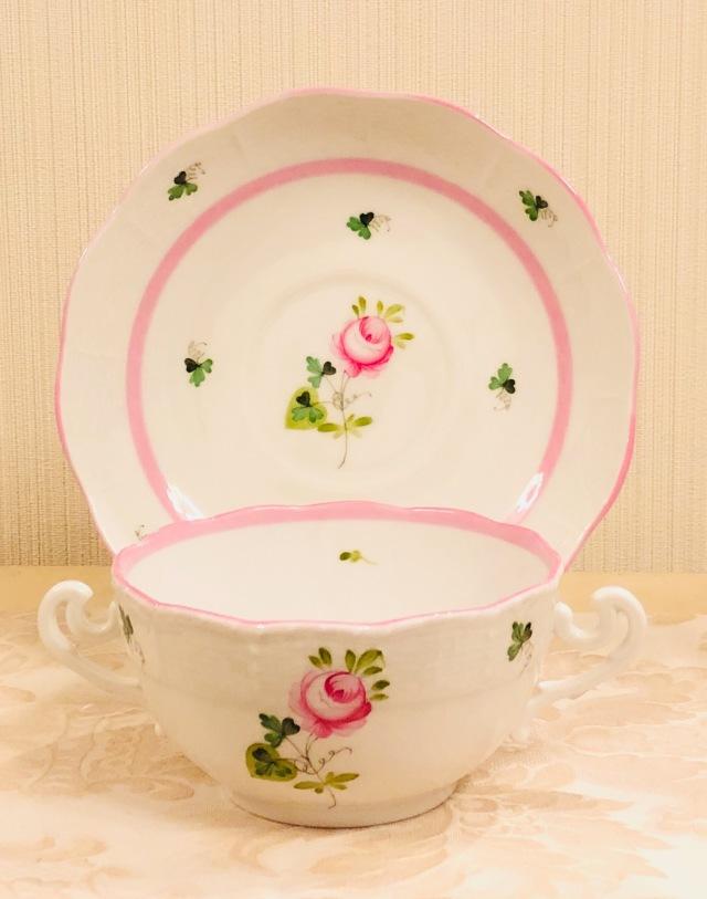 ☆レア☆再入荷☆VRH-X4 ウィーンのバラピンク 両ハンドルスープカップ&ソーサー