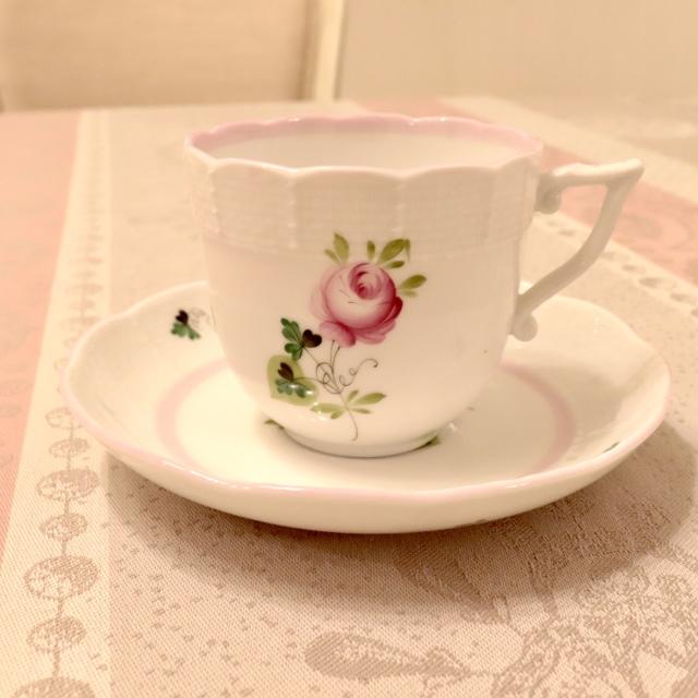☆ラスト1点☆ ヘレンド VRH-X4 ウィーンの薔薇ピンク コーヒーカップ&ソーサー 約200cc 淡めのお色