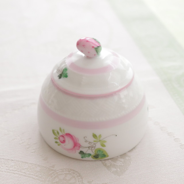 ☆レア☆Herend VRH-X4 ウィーンの薔薇ピンク ジャム/ハニーポット 小物入れ ストロベリートップ (*淡目のピンクのお色味です)