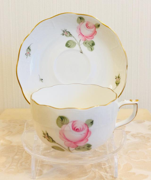 ☆ラスト1点☆レア☆ Herend VGR ヘレンド ウィーンの薔薇(淡いローズ) ゴールド ティーカップ&ソーサー (☆カップ&ソーサーのみ。デザートプレートは別売りです。)