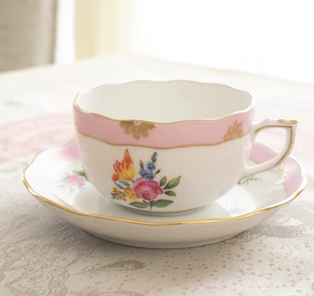 Herend ヘレンド ローズチューリップ ピンク ティーカップ&ソーサー 約200cc (*カップ&ソーサーのみ。デザートプレートは別売です。)