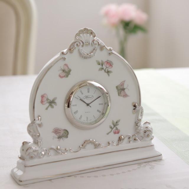 ☆御会員様限定価格☆Herend ヘレンド ヴィクトリアプラチナ クロック・置き時計