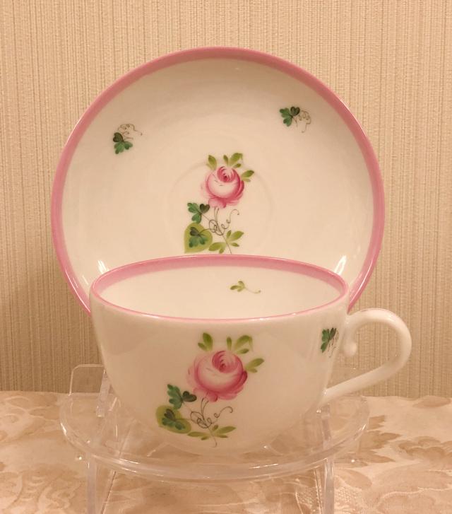 ☆レア☆ ヘレンド  VRH-X4 02703-0-00 ウィーンの薔薇ピンク ストレートカット ティーカップ&ソーサー (☆カップ&ソーサーのみ。デザートプレートは別売りです。☆)