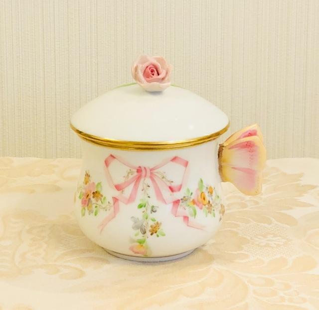☆御会員様専用価格☆ ヘレンド  EDEN エデン桜ピンク クリームカップ 薔薇トップ バタフライハンドル