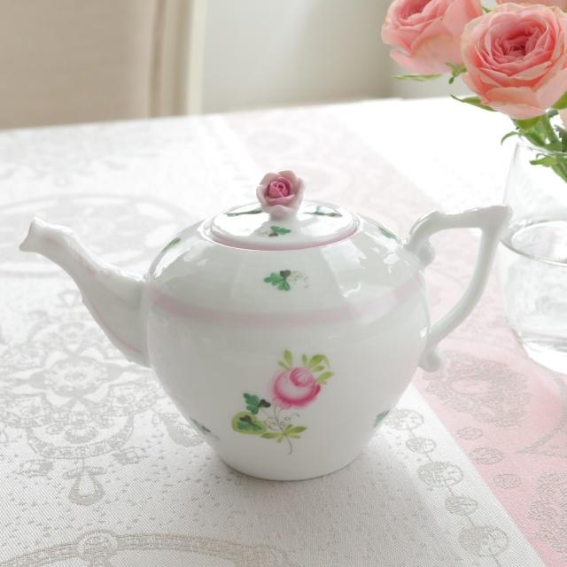 ☆ラスト1点☆レア☆Herend VRH-X4 ウィーンの薔薇ピンク ミニミニティーポット 280ml (*淡目のピンクのお色味です)
