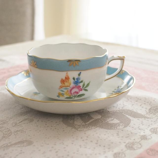 ☆Herend☆ ヘレンド ローズチューリップ ブルー ティーカップ&ソーサー 約200cc (*カップ&ソーサーのみ。デザートプレートは別売です。)
