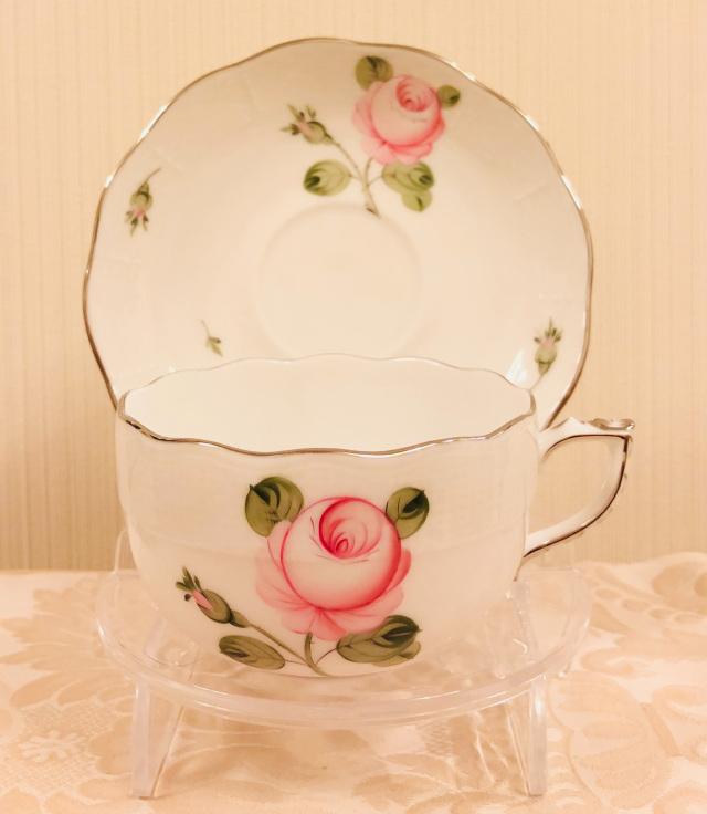 ☆レア☆ Herend VGR-PT ヘレンド ウィーンの薔薇プラチナ ティーカップ&ソーサー