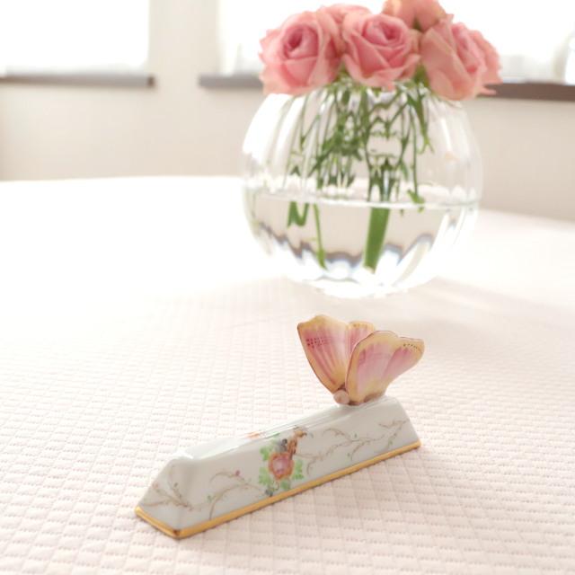 ☆ヘレンド EDEN シンプルエデン桜ピンク ナイフレスト バタフライ☆ 注:ペアではありません。1点のご案内です。