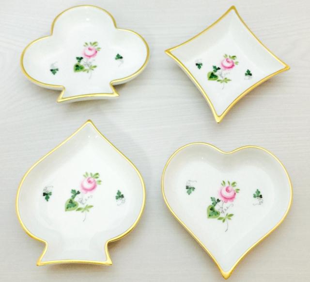 ヘレンド VRHS ウィーンの薔薇 ゴールド トランプシェイプ小皿セット(4枚)