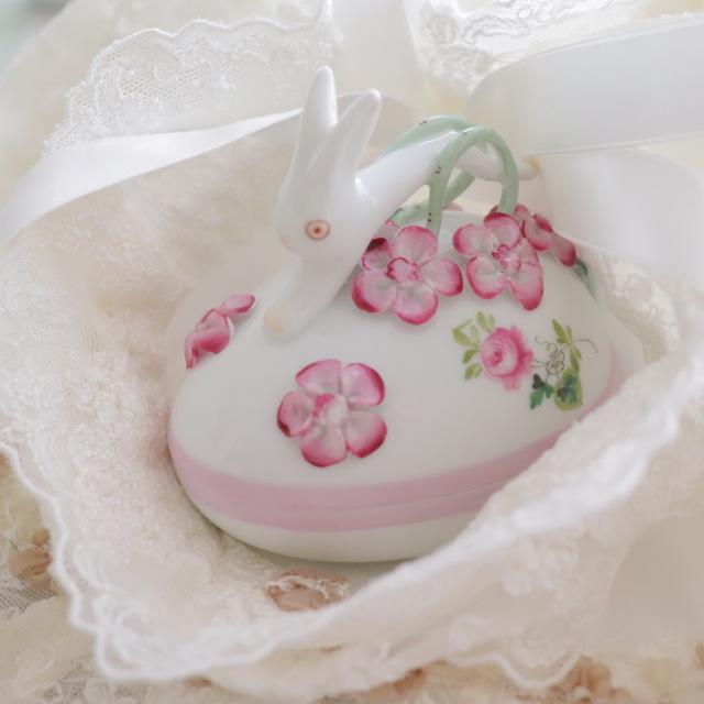 ☆御会員様専用☆再入荷☆Herend VRH-X4 ウィーンの薔薇ピンク ウサギトップのエッグボンボニエール (*ウィーンの薔薇ピンク1点のみのご案内です。)☆ギフトボックスつき☆