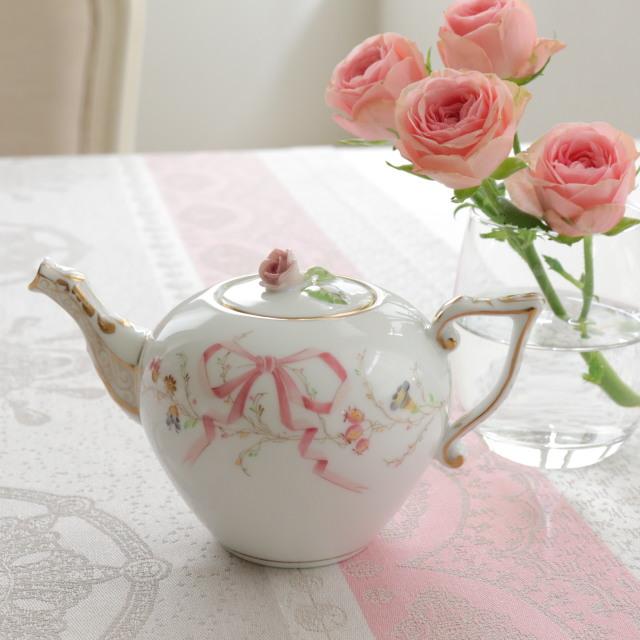 Herend ヘレンド エデン桜ピンク シンプル ミニミニティーポット 約280ml (*ティーポットのみ。オリエンタルボウル&ソーサーは別売です。)