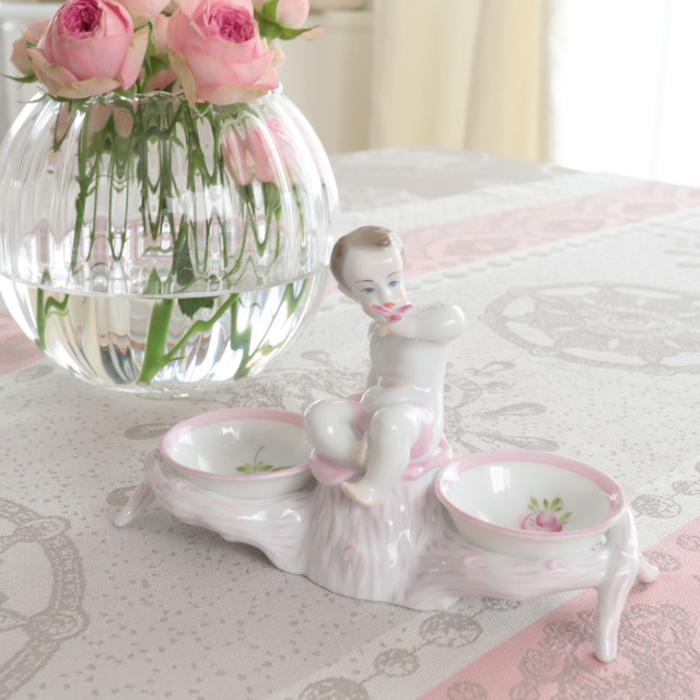 ☆レア☆ Herend ヘレンド  ウィーンの薔薇ピンク ツインセラー プット・天使モチーフ