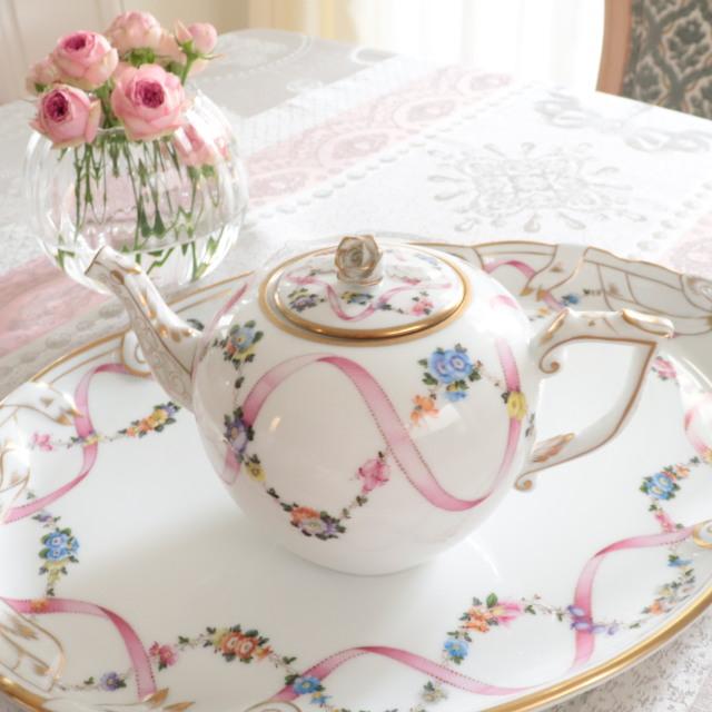 ☆New Price☆ ヘレンド  フラワーリボンピンク FLR-X2 20606-0-09  TeaPot 800ml 薔薇タイプ (*ポットのみのご案内。他の商品は別売です。)