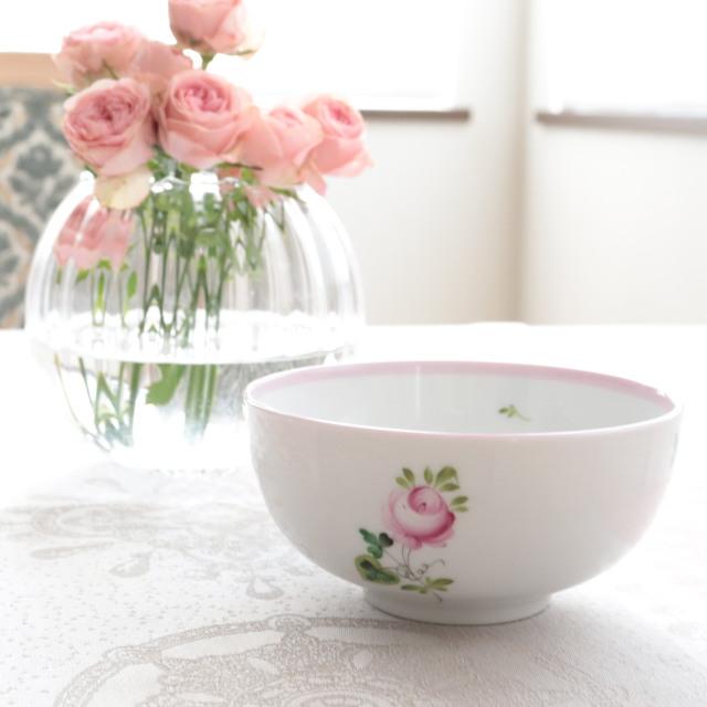 ☆再入荷☆ ヘレンド VRH-X4 00355 ウィーンの薔薇ピンク オリエンタル風ディナーボウル 14.5cm *写真左