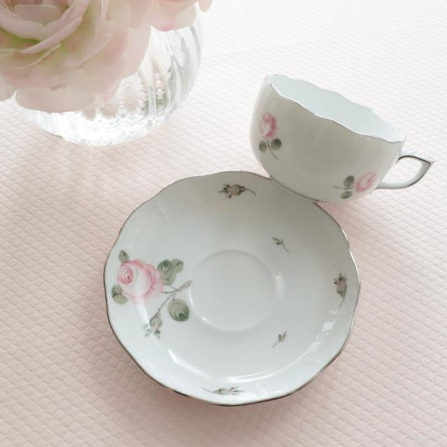 ☆レア☆ Herend ヘレンド ウィーンの薔薇プラチナ ティーカップ&ソーサー